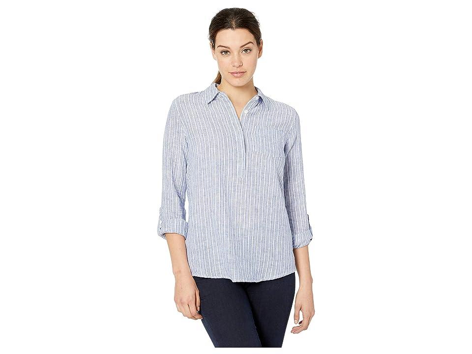 Image of ALEXANDER JORDAN Linen/Cotton Popover Stripe 3/4 Roll Tab Sleeve (Blue/White Stripe) Women's Clothing