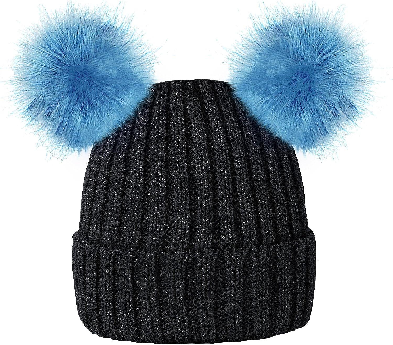 KIDS Girls Rockjock Bobble Hat Pom Pom Beanie Thermal Fleece Winter Insulated