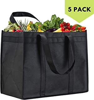 NZ Home XL Reusable Grocery Bags, Heavy Duty Shopping Tote, Stands Upright, Foldable, Washable, Extra Large, Completely Reinforced Bottom & Straps (5 Pack, Black)