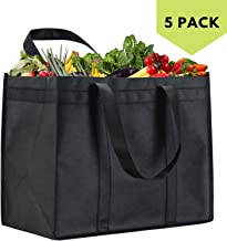 NZ Home XL Reusable Grocery Bags - Stands Upright - Foldable - Washable - Extra Large - Completely Reinforced Bottom & Straps Black 5 Pack