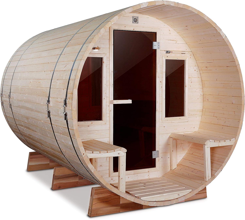 ALEKO SBEMS6PN Outdoor White Pine Barrel Steam Sauna - Front Porch Canopy - ETL Certified - 6 Person