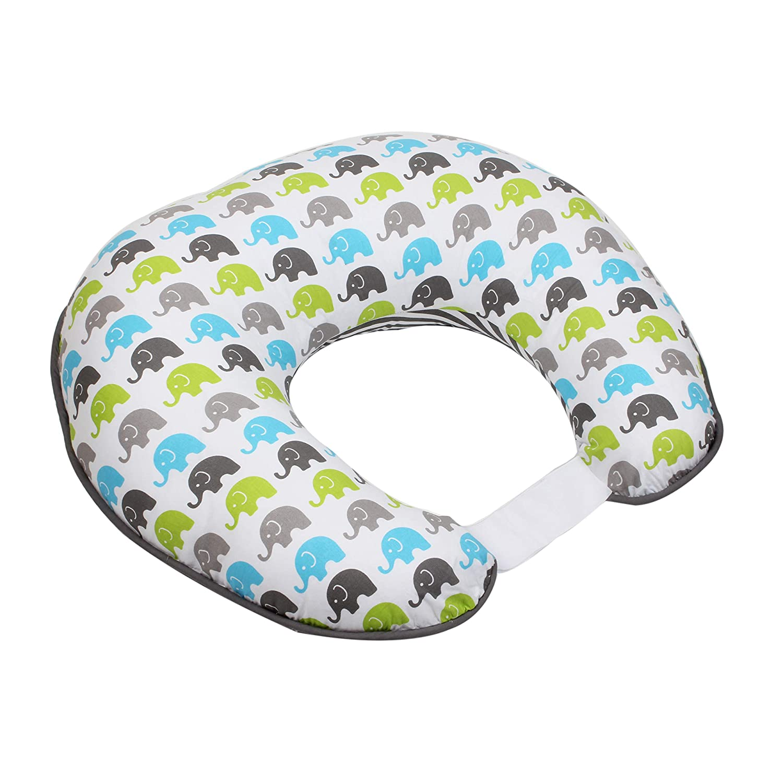 Bacati - Elephants Aqua/Lime/Grey Nursing Pillow (Nursing Cover with Pillow Insert, Aqua/Lime/Grey)