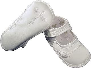 Girls Satin Christening Shoe with Celtic Cross and Rosette
