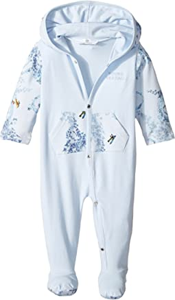 Versace Kids - Long Sleeve Footie w/ Hood & Barocco Detail (Infant)