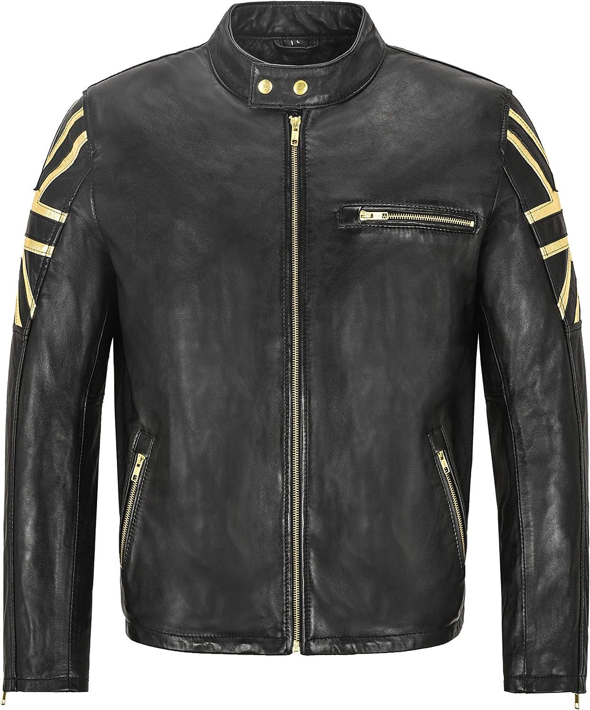 Cafe Racer Mens Jacket Union Jack Golden Flag Black Soft Leather Jacket 2525