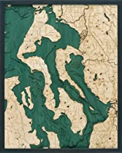 Whidbey and Camano Islands 3-D Nautical Wood Chart, 24.5