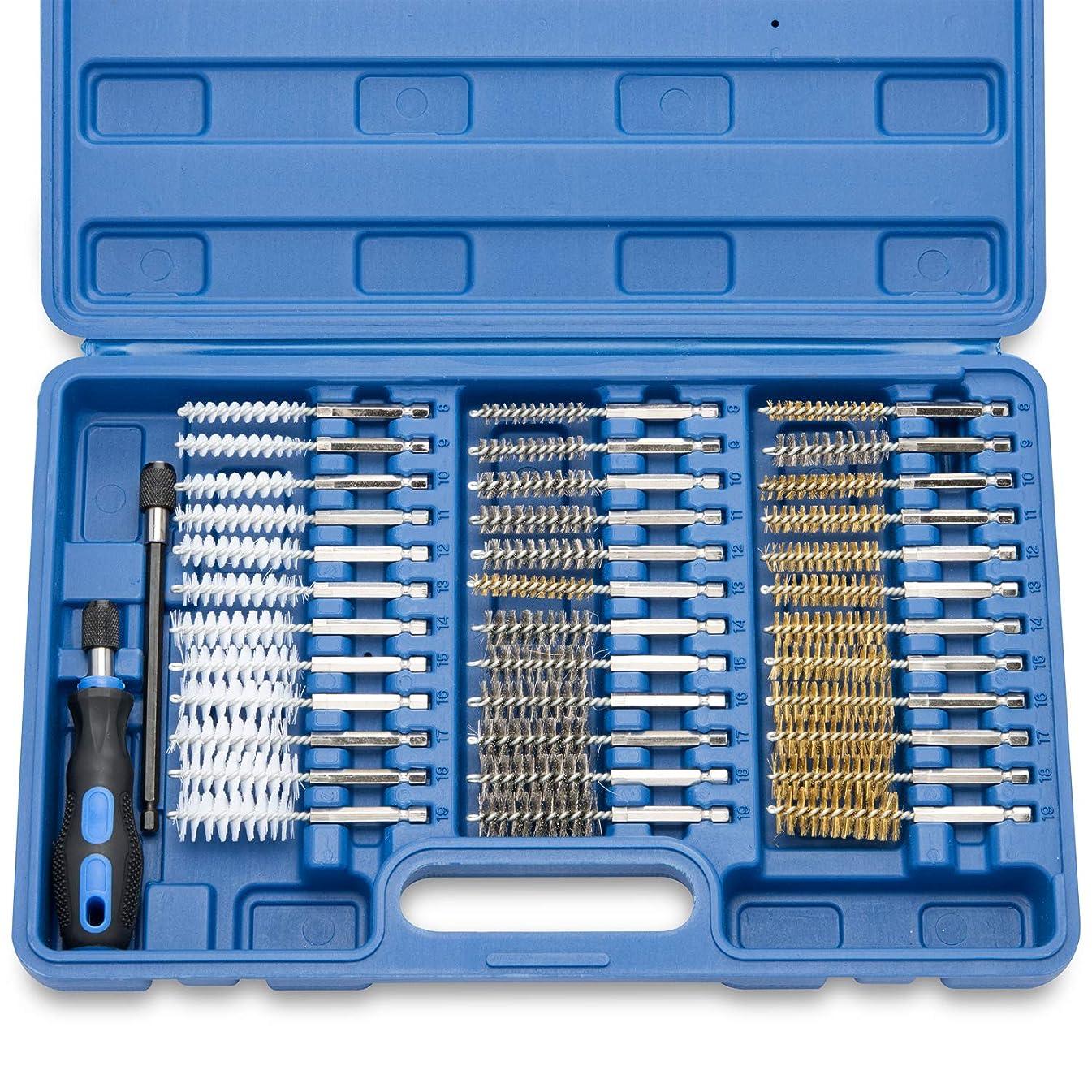 Neiko 00325A Industrial Wire Hex Shank Brush Set, 38 Piece| 1/4