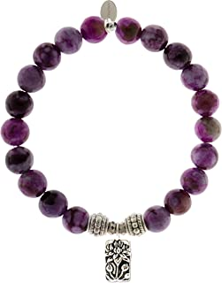 EvaDane Natural Sugilite Gemstone Rope Bead Lotus Charm Stretch Bracelet