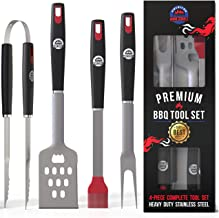 American BBQ Grill Tools - Premium Grilling Set Kit - 4 Piece Utensils Spatula, Tongs, Fork, Basting Brush - Heavy Duty Stainless Steel Barbecue Accessories - Best Gift for Him Men - 10 Year Warranty