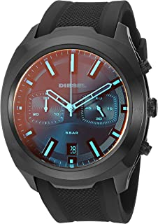 Men's Tumbler Stainless Steel Analog-Quartz Watch with Silicone Strap, Black, 25.57 (Model: DZ4493)