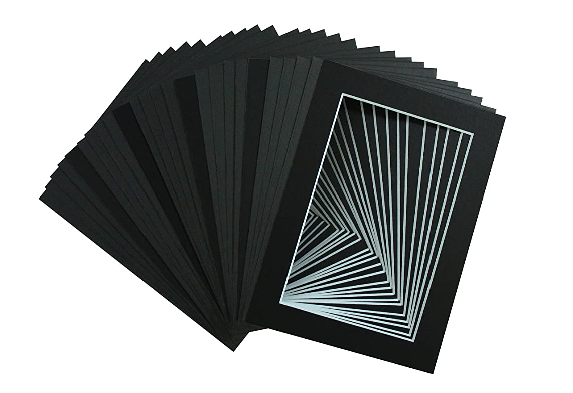Golden State Art, Acid Free, Pack of 25, 5x7 Black Picture Mats Mattes for 4x6 Photos - White Core Bevel Cut