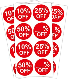 Percent Off Stickers Red 10% 25% 50% Blank Percent Off - 1.5 Inch Sale Price Stickers Labels - 520 Garage Yard Retail Promotion Discount Deals Pricemarker
