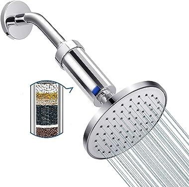 Cabezal de ducha fija de 6 pulgadas con filtro para mantener alta presión 2,5 GPM incluso bajo flujo, ahorrar agua, mejorar r