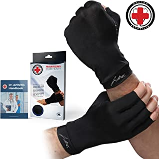 Doctor Developed Copper Arthritis Gloves/Compression Gloves and Doctor Written Handbook -Relieve Arthritis Symptoms, Raynauds Disease & Carpal Tunnel (M)