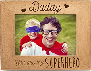 yuzi-n Super Hero Dad Photo Frame Gift for New Dad Love Daddy Picture Frame Dad from Son - Engraved Natural Solid Wood Picture Frame (4x6-Horizontal)