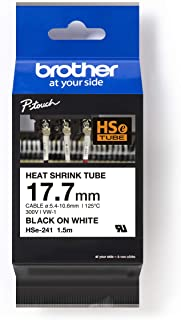 Brother HSE-241 Heat Shrink Tube, 17.7mm, Black on White