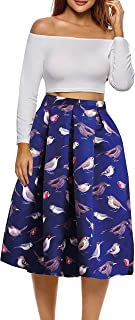 Afibi Women's Vintage Floral Skater Pleated Print Casual Swing Skirt