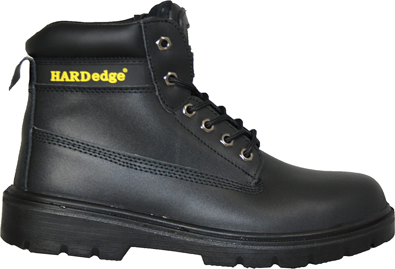 6  Eyelet Leather Safety Boots , Steel Toe Cap, Steel Mid Sole, S3 (08, Black)