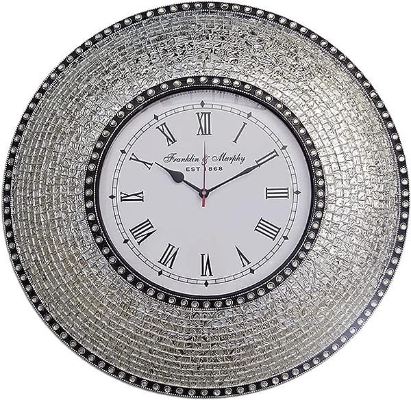 DecorShore 22 5 Silver Handmade Glass Mosaic Wall Clock Quiet Motion Design