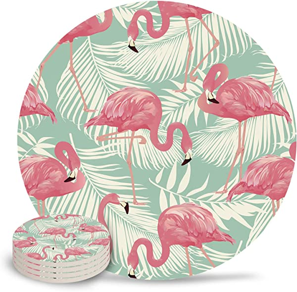 Ceramic Coaster 4 Piece Absorbent Stone Coasters With Cork Base Pink Flamingo And Tropical Leaves Coasters Mats For Cold Drinks Coffee Mugs Glass Cup Place
