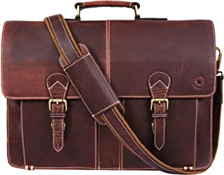 Leather Briefcase Office Bag for Men Padded Laptop Sleeve by Aaron Leather Goods 17 Inch Brown (Walnut)