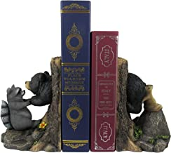 World of Wonders Black Bear and Racoon Forest Decorative Bookends | Decorative Book Holder for Kids | Book Holder for Shel...