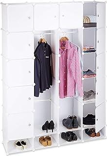 Relaxdays Étagère cubes rangement penderie armoire 18 compartiments plastique chaussures modulable, Blanc, 36.5 x 145 x 19...
