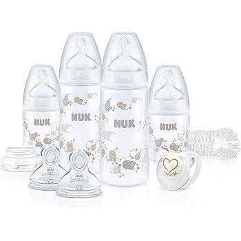 NUK Kit Biberons First Choice+ (150ml x2 et 300ml x2) avec Sucette Genius, Goupillon et Tétines, anti colique, Sans BPA, neutre