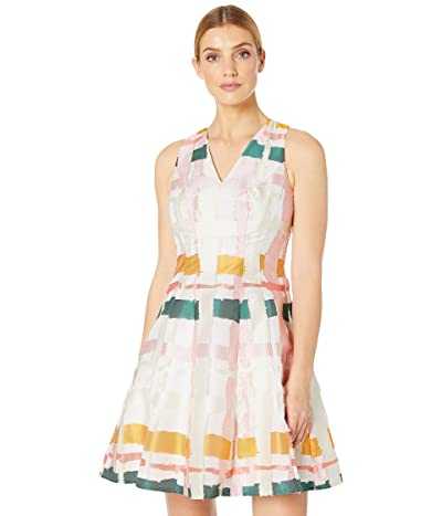 Maggy London Clipped Ribbon Plaid Fit and Flare (Blush Multi) Women