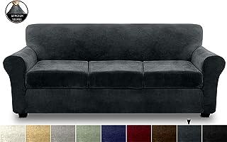 FINERFIBER Velvet High Stretch 4 Piece Sofa SlipCover