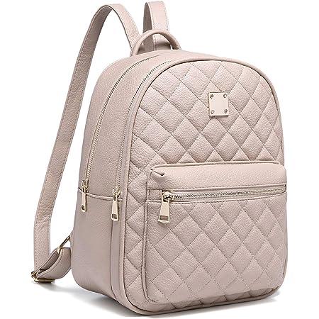 Myhozee Rucksack Damen Leder PU Daypack Klein Elegant Rucksack Tagesrucksack für Mädchen,Beige