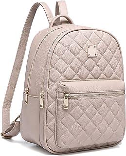 Myhozee Zaino Donna Pelle PU Zainetto Ragazza Casual Zaini Casual Daypack Backpack per Scuola Viaggio Lavoro Shopping Beige