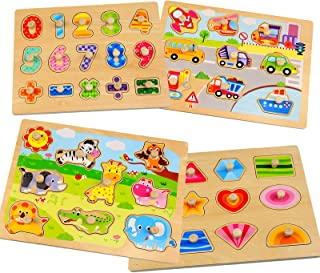 Wooden Toddler Peg Puzzles Set - WOOD CITY Animal Vehicle Number & Shape Themed Laser Cut Puzzle - (4 Pack) Educational Kn...