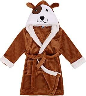 Image of Brown Puppy Dog Robe for Boys with Hood