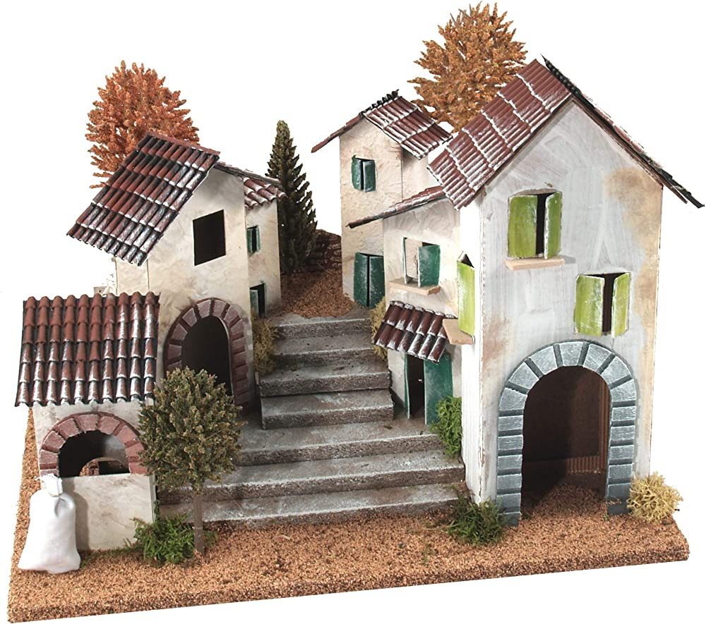 Ferrari & arrighetti borgo rustico con scalinata e fuoco a batteria,paesaggio dep presepe B46000