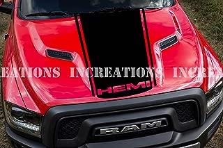 Hemi Dodge Ram Hood Simple Stripe Truck Decals Mopar Stickers Racing Stripe (Black)