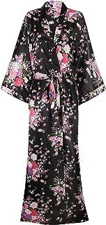 Women's Silk Kimono Robe Long Robes with Blossoms Printed Bridesmaid Wedding Nightgown