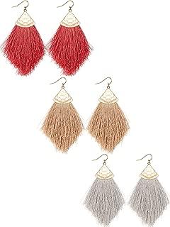 3 Pairs Bohemian Feather Tassel Drop Earrings Boho Silky Thread Fringe Hook Earrings Statement Drop Earrings for Women