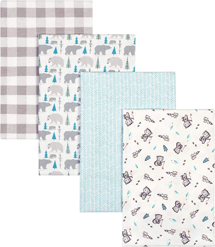 Trend Lab Bear 4 Pack Flannel Blankets
