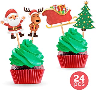 Christmas Cupcake Toppers Cake Picks - Santa Reindeer Sleigh Christmas Tree Party Decorations Supplies Winter Holiday - 24 PCS