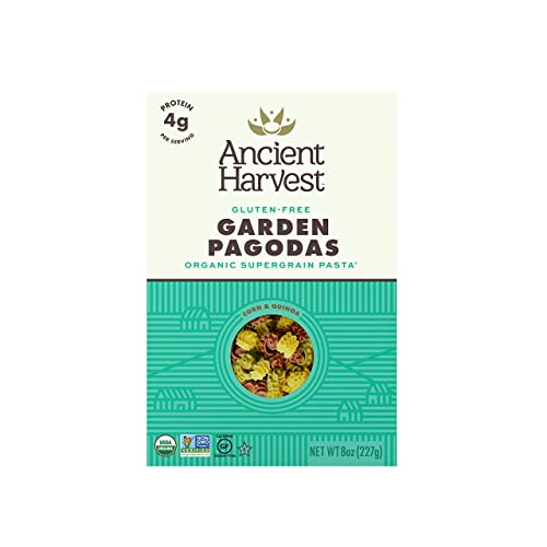 Ancient Harvest Organic Gluten-Free Corn and Quinoa Supergrain Pasta Garden Pagodas, Plant-Based Pasta with the Same Great Taste and Texture of Traditional Pasta, 8 Ounce