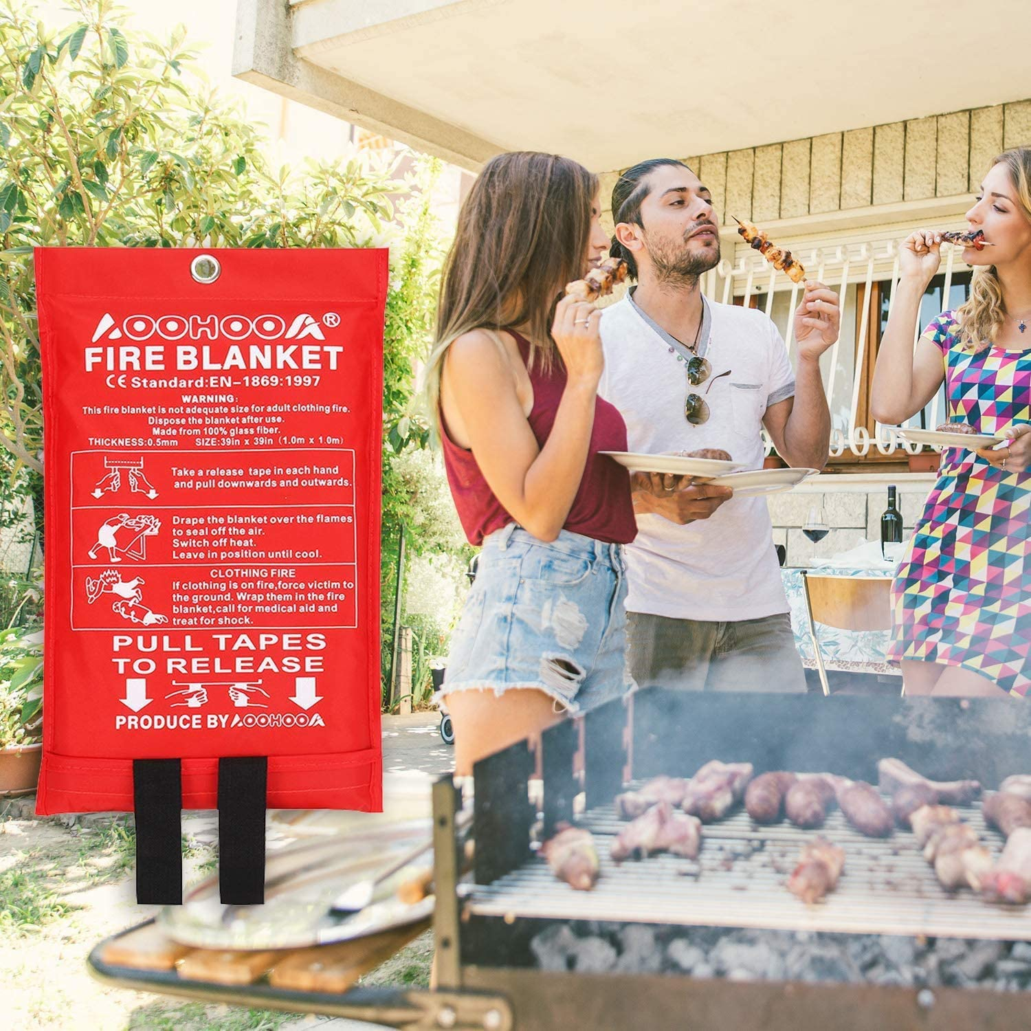AOOHOOA Fire Blanket Fiberglass Emergency Fire Safety Blankets Flame Retardant Protection for Kitchen,Camping,Fireplace,Grill,Car,RV,Boat