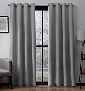 Exclusive Home Curtains Heath Textured Linen Window Curtain Panel Pair with Grommet Top, 52x108, Dove Grey, 2 Piece