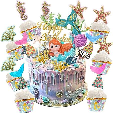 Cupcake Topper Set,adorno de pastel de bebe,Animal Cupcake Toppers,Cupcake Toppers Picks para niños cumpleaños,Animal Tema Party Decorations (Sirena 36 piezas)