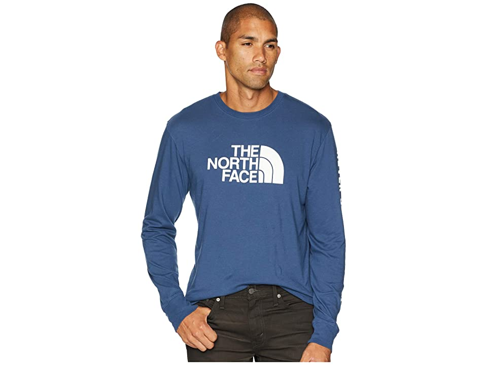 The North Face Long Sleeve Well-Loved 1/2 Dome Tee (Shady Blue) Men