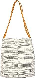 MUMUSO Straw Tote Bag for Women   Summer Beach Shoulder Bag Large Capacity with Top Handle (Cream)