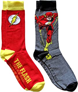 Hyp DC Comics The Flash Men's Crew Socks 2 Pair Pack Shoe Size 6-12