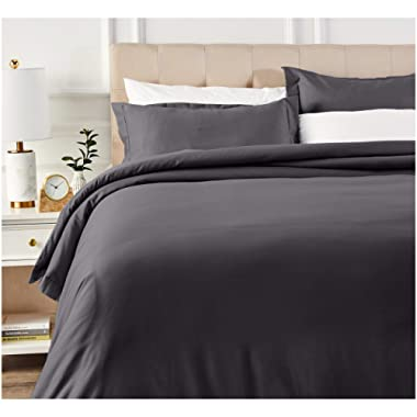 AmazonBasics 400 Thread Count Cotton Duvet Cover Bed Set with Sateen Finish - King, Dark Grey