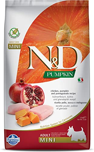 Farmina N&D Pumpkin Dry Dog Food, Grain-Free, Adult Mini Breed, 2.5-kg, Chicken and Pomegranate