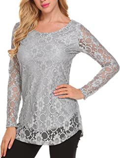 7697f4b6d1a SoTeer Women's Lace Casual Tops Short Sleeve/Long Sleeve Boho Elegant Casual  Loose Blouse Shirts